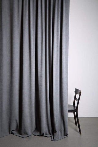 "Extra Wide Matt Velvet Dim-out Curtains 300cm/118"" -  Grey 351"