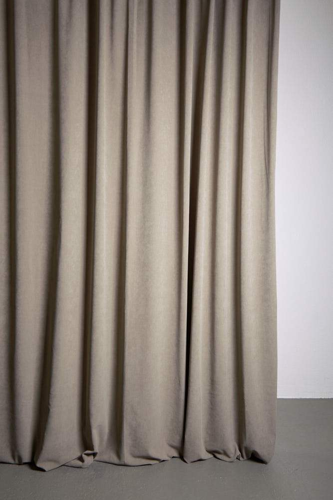 "Extra Wide Velvet Curtains - Extra Wide Matt Velvet Dim-out Curtains 300cm/118"" -  Stone 447"