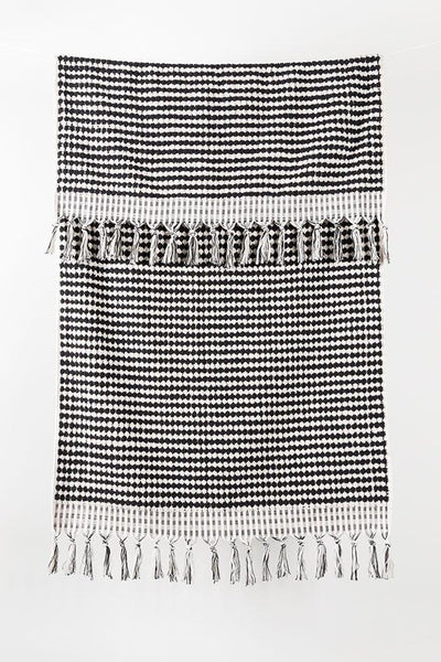 Black Handloom Turkish Towels Pom Pom