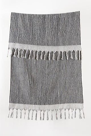 Black Stripe Handloom Turkish Towels Pom Pom