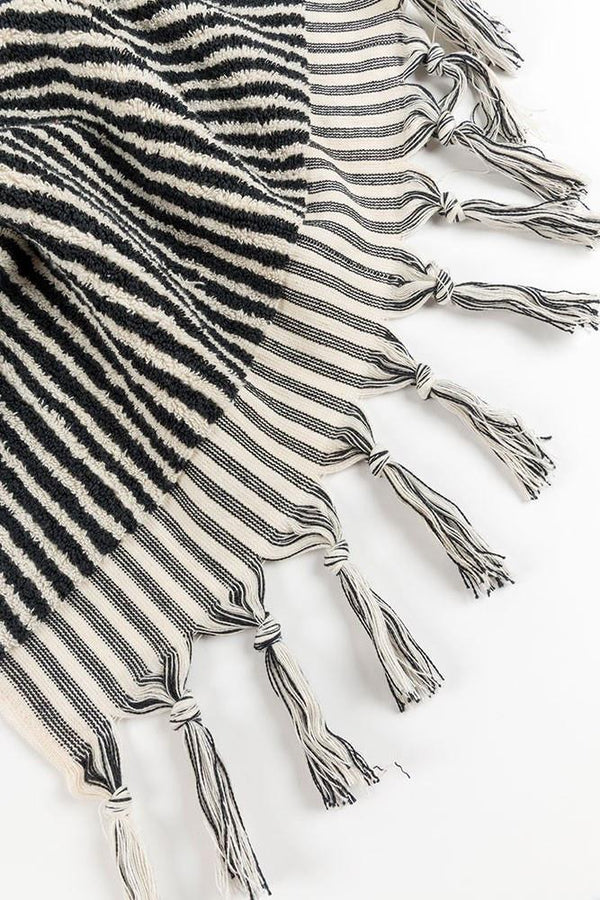 Handloom Cotton Towels - Black Stripe Handloom Turkish Towels Pom Pom