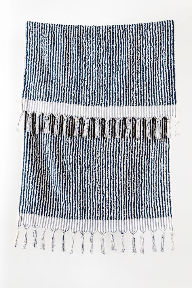 Handloom Cotton Towels - Dark Blue Stripe Handloom Turkish Towels Pom Pom