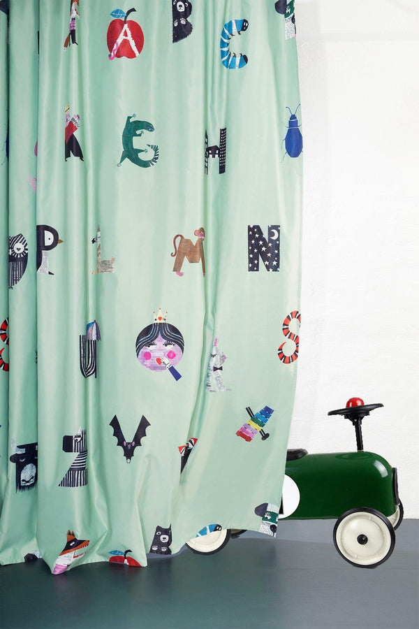 Kids Blackout Curtains - Alphabet City Kids Blackout Curtain By Natalie Born - Extra Wide