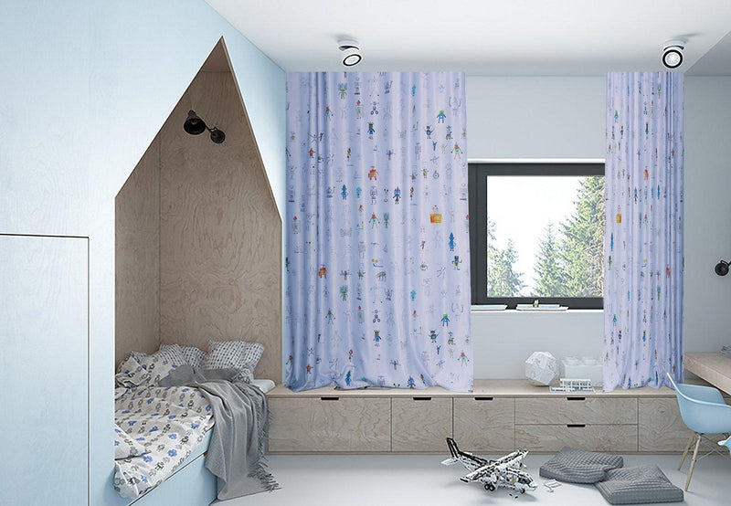 Kids Blackout Curtains - Robot Land Kids Blackout Curtain - Extra Wide