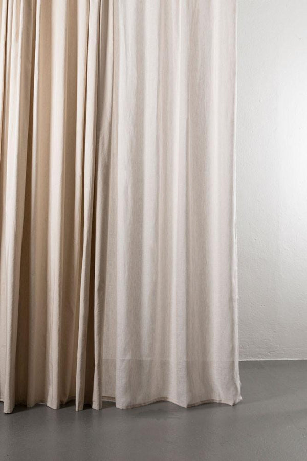 "Linen / Cotton Curtains - Azura Flax Cotton & Linen Curtains 300cm / 118"" Extra Wide - 003"