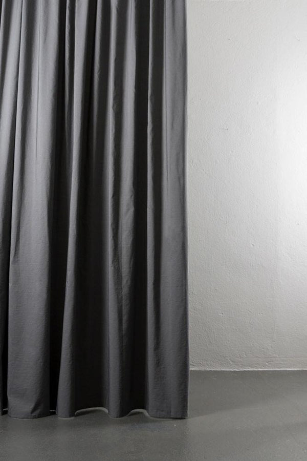 "Linen / Cotton Curtains - Azura Grey Cotton & Linen Curtains 300cm / 118"" Extra Wide - 007"