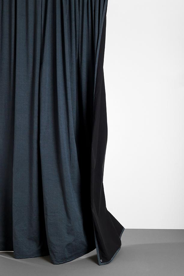 "Linen / Cotton Curtains - Belize Blue / Black Linen & Cotton Curtains 285cm / 112"" Extra Wide - Azzurro"