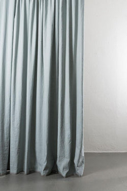 "Linen / Cotton Curtains - Belize Blue / Grey Linen & Cotton Curtains 285cm / 112"" Extra Wide - 042"