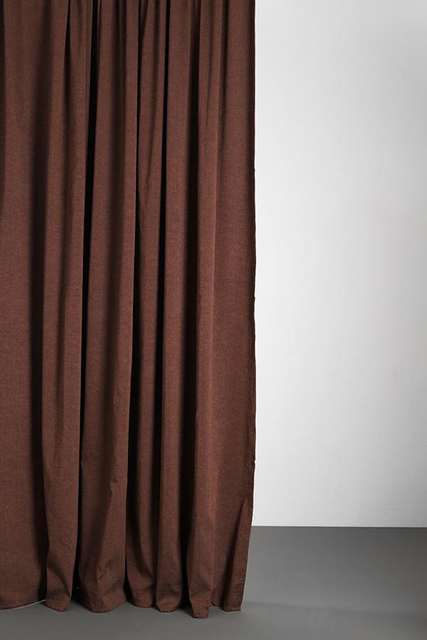 "Linen / Cotton Curtains - Belize Copper Red / Black Linen & Cotton Curtains 285cm / 112"" Extra Wide - Vino"