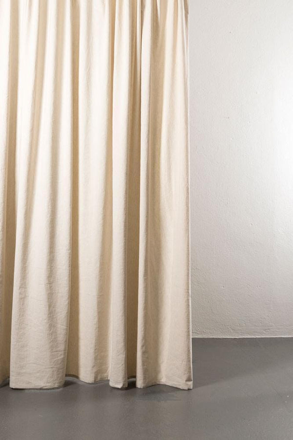 "Linen / Cotton Curtains - Belize Cream Linen & Cotton Curtains 285cm / 112"" Extra Wide - 219A1"