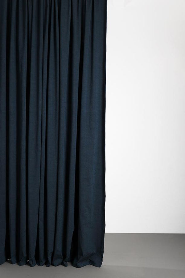 "Linen / Cotton Curtains - Belize Denim Blue / Black Linen & Cotton Curtains 285cm / 112"" Extra Wide - Mare"
