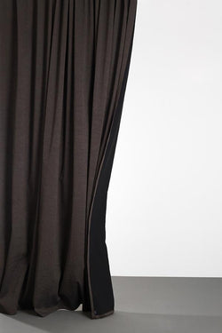 "Linen / Cotton Curtains - Belize Marrone Brown / Black Linen & Cotton Curtains 285cm / 112"" Extra Wide - Marrone"