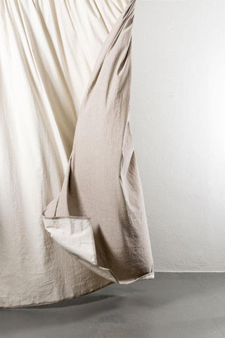 "Belize Oatmeal / Brown Linen & Cotton Curtains 285cm / 112"" Extra Wide - 01"