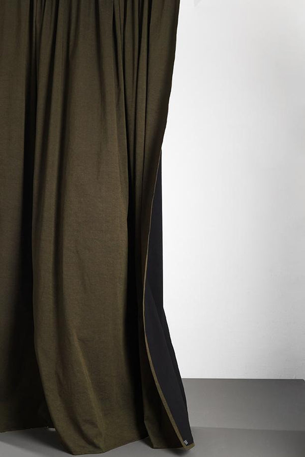 "Linen / Cotton Curtains - Belize Olive Green / Black Linen & Cotton Curtains 285cm / 112"" Extra Wide - Olive"