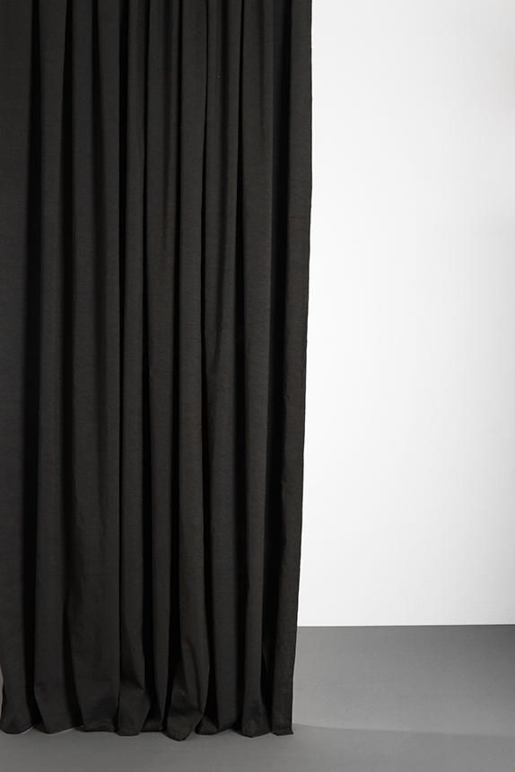 "Linen / Cotton Curtains - Belize Petrol / Black Linen & Cotton Curtains 285cm / 112"" Extra Wide - Petrol"