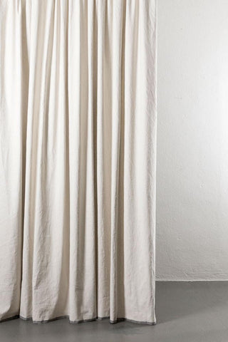 "Belize Sand / Stone  Linen & Cotton Curtains 285cm / 112"" Extra Wide - 01ON"