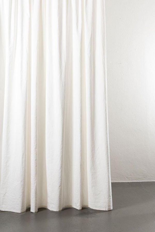 "Linen / Cotton Curtains - Belize White Linen & Cotton Curtains 285cm / 112"" Extra Wide - 001"