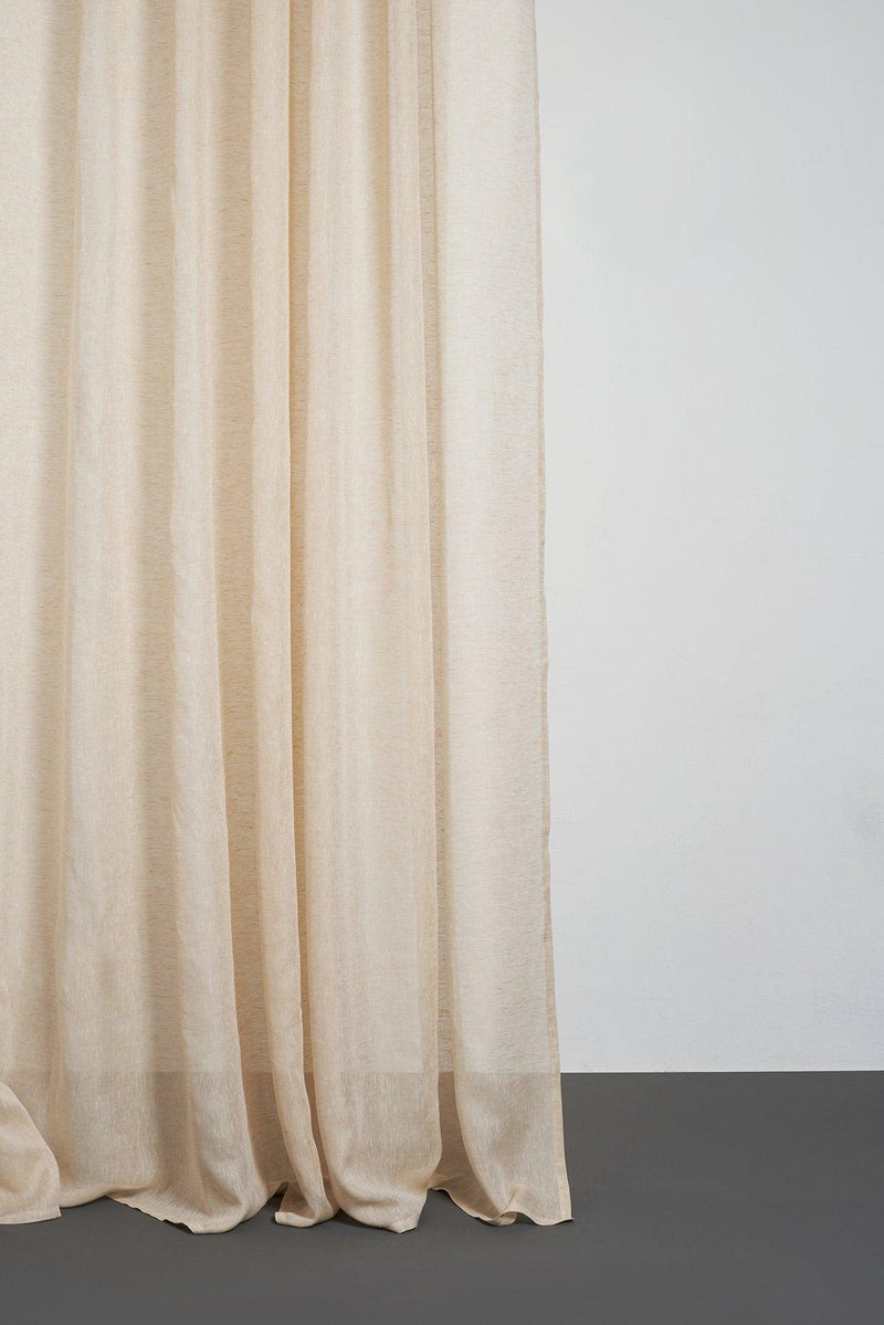 "Linen Curtains - Beige Linen Curtains 300cm /118"" Extra Wide"