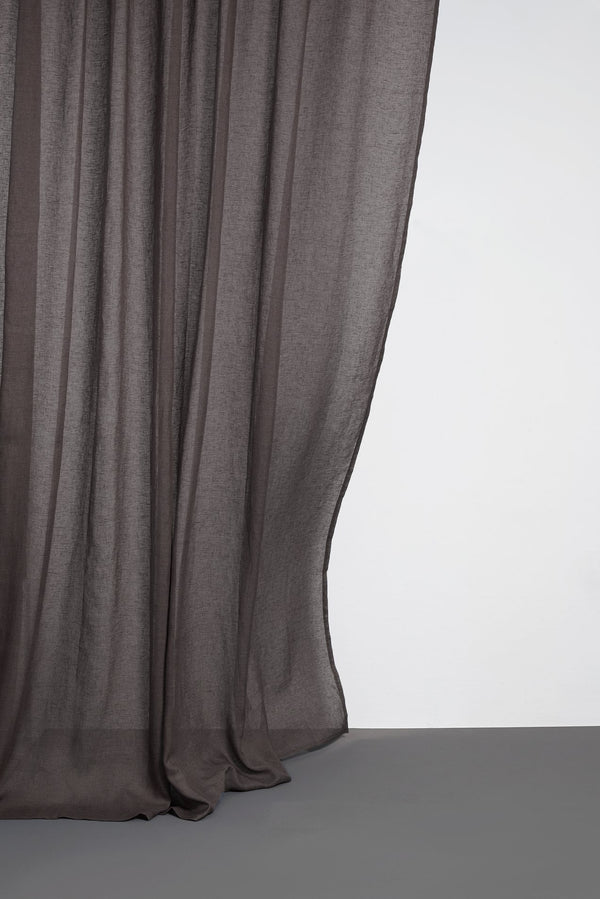"Leinen Vorhaenge Linen Curtains - Dark Brown Linen Curtains 300cm /118"" Extra Wide"