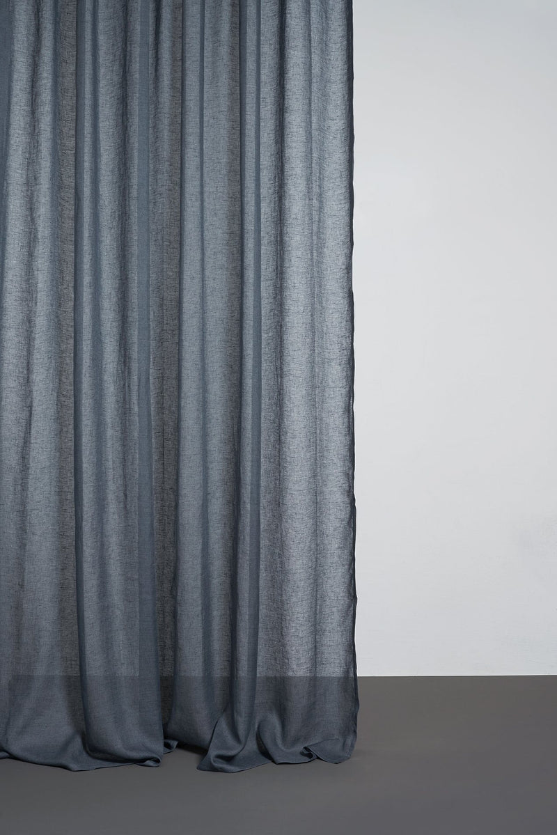 Leinen Vorhaenge Linen Curtains - Grey Linen Curtains 300cm / 118 Inches Wide