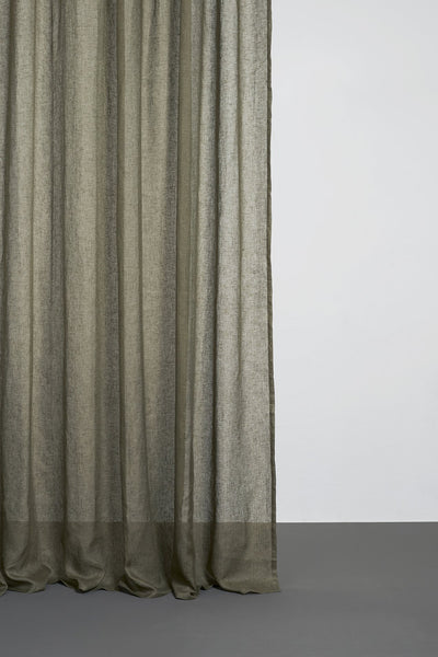 Linen Curtains - Olive Green Linen Curtains 300cm /118 Inches Extra Wide