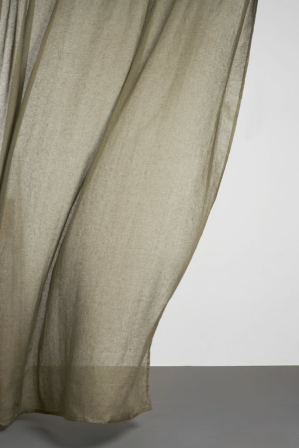 Leinen Vorhaenge Linen Curtains - Olive Green Linen Curtains 300cm /118 Inches Extra Wide
