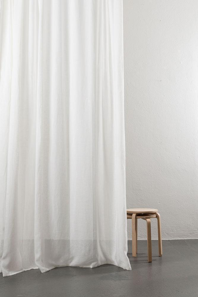 Linen Curtains - Pure White Linen Curtains 300cm /118 Inches Wide