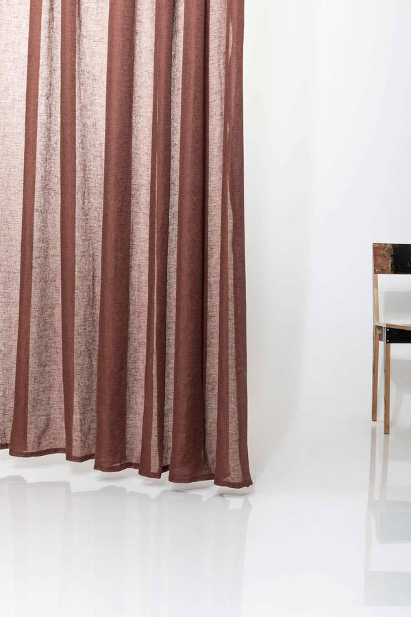 "Linen Curtains - Rust Linen Curtains 300cm /118"" Extra Wide - Rust Brown"