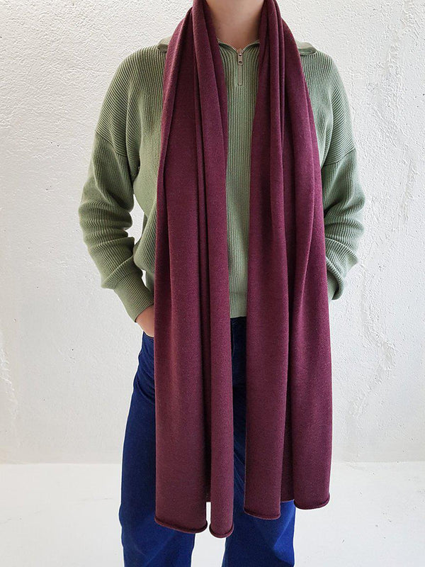Merino Wool Scarves - XL Merino Wool Scarves - Col. Burgundy Red