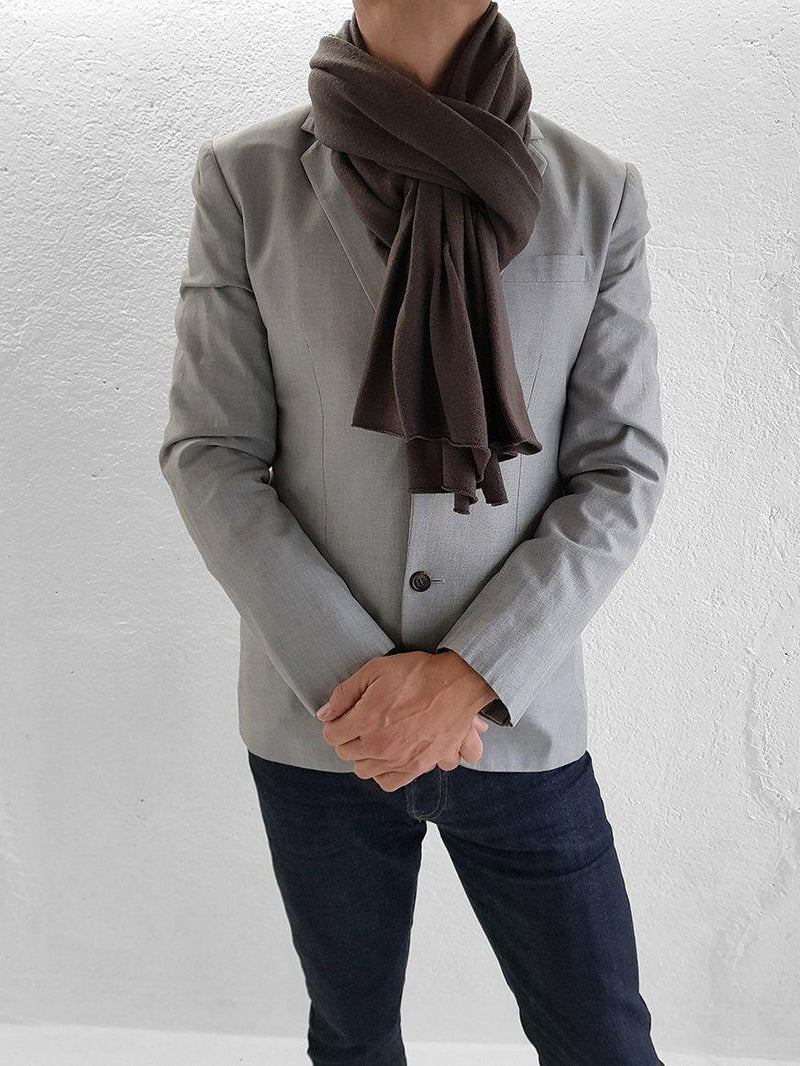 Merino Wool Scarves - XL Merino Wool Scarves - Col. Fango Brown