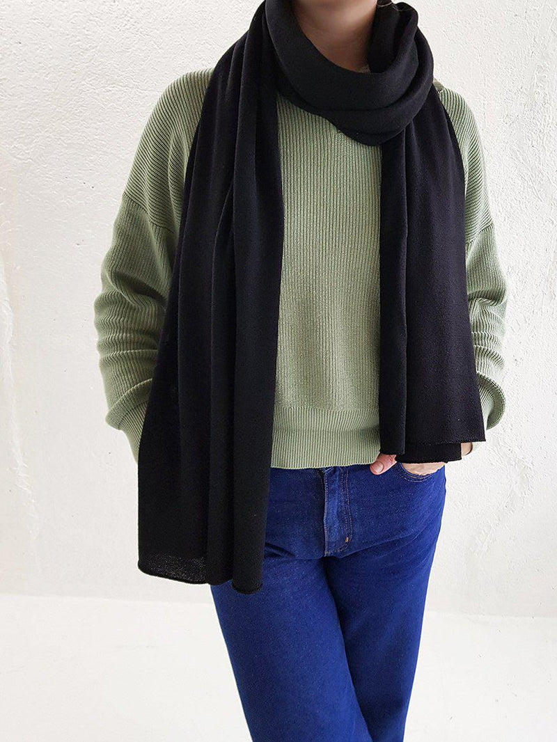 Merino Wool Scarves - XL Merino Wool Scarves - Col. Pitch Black