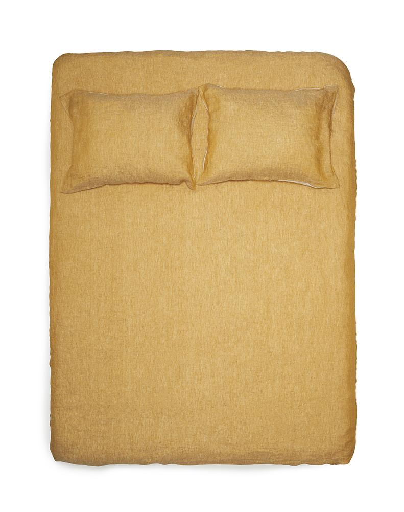 Natural Linen Bedding - Two Tone Stonewashed Linen Bedding Col. Curry Leinen Bettwäsche