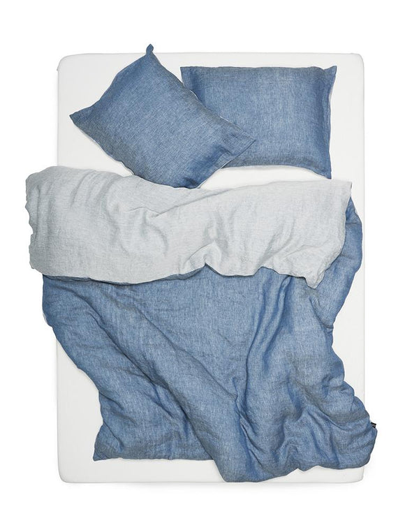 Two Tone Stonewashed Linen Bedding Col. Denim Leinen Bettwäsche