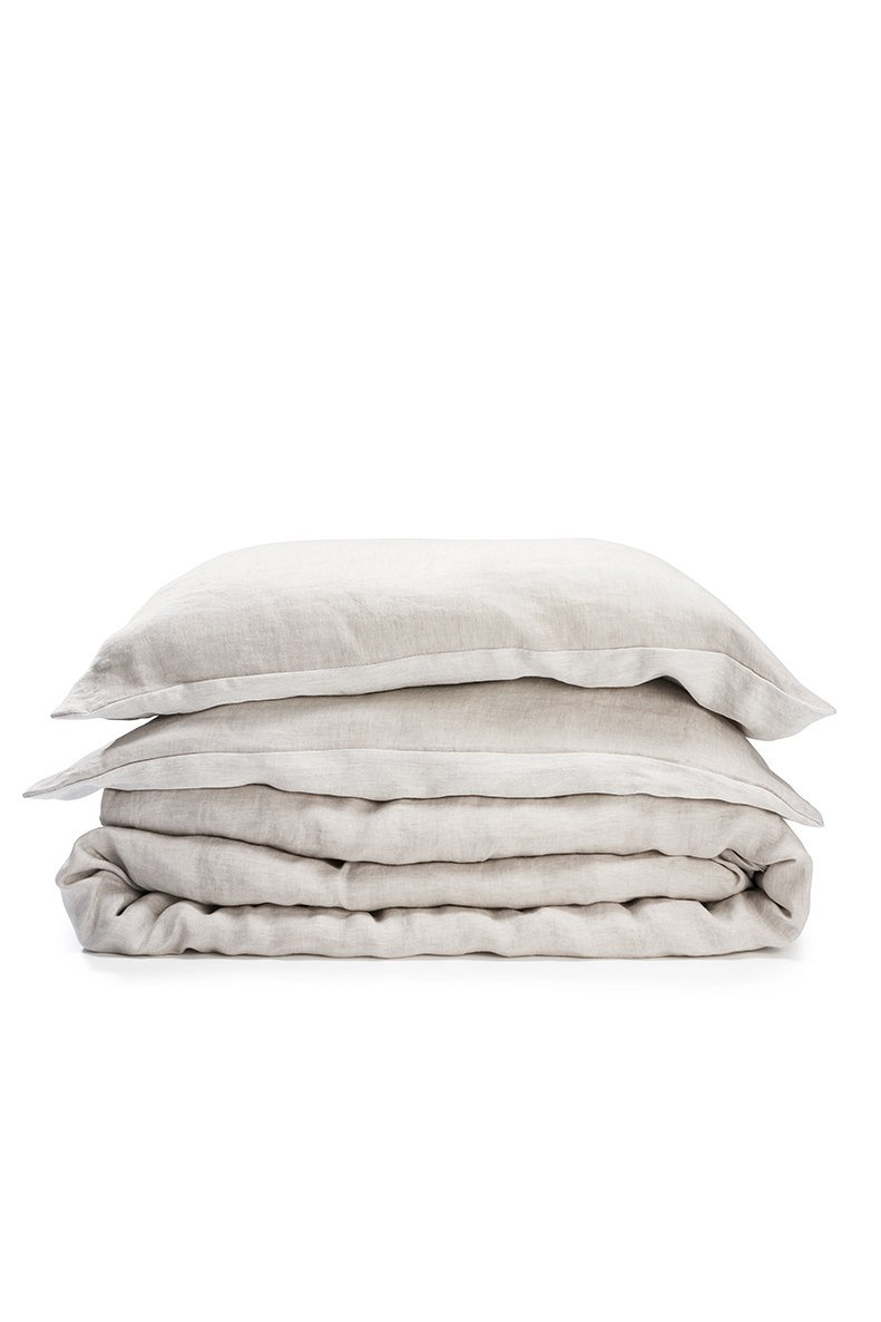 Two Tone Stonewashed Linen Bedding Col. Grey Leinen Bettwäsche