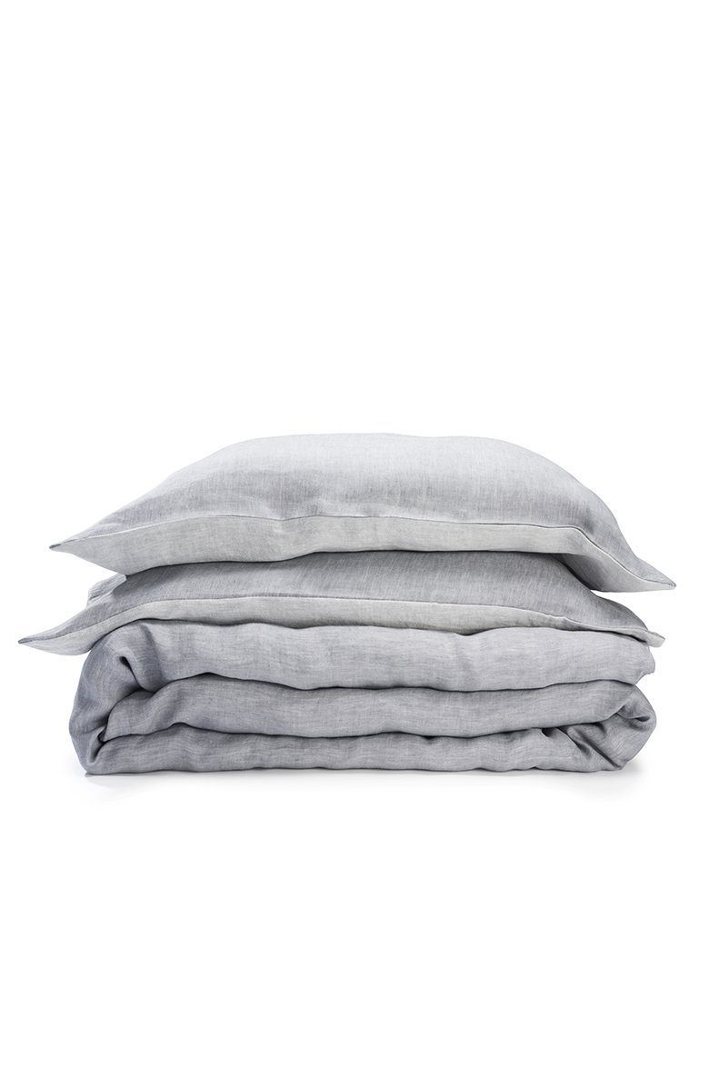 Natural Linen Bedding - Two Tone Stonewashed Linen Bedding Col. Quartz Grey Leinen Bettwäsche