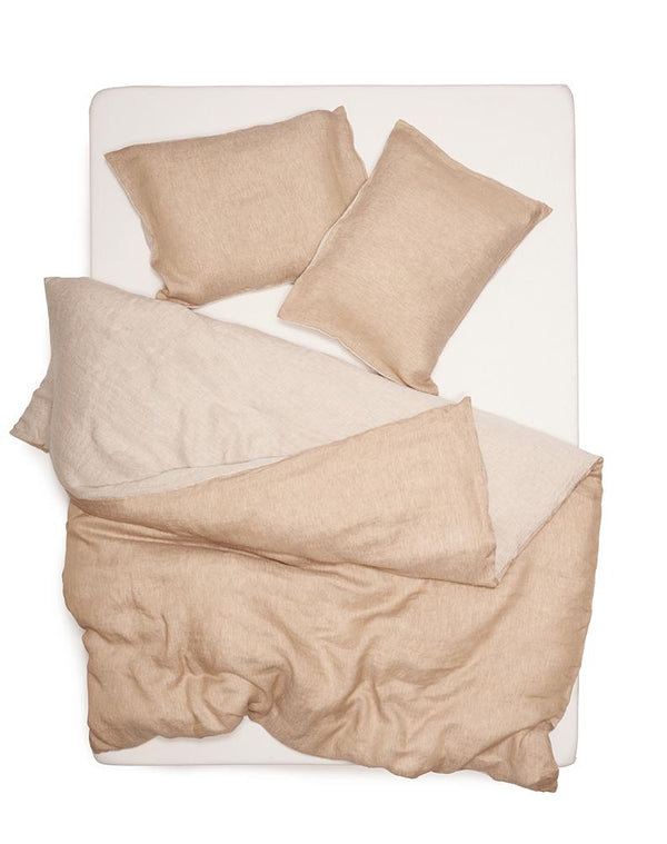 Natural Linen Bedding - Two Tone Stonewashed Linen Bedding Col. Sand Leinen Bettwäsche