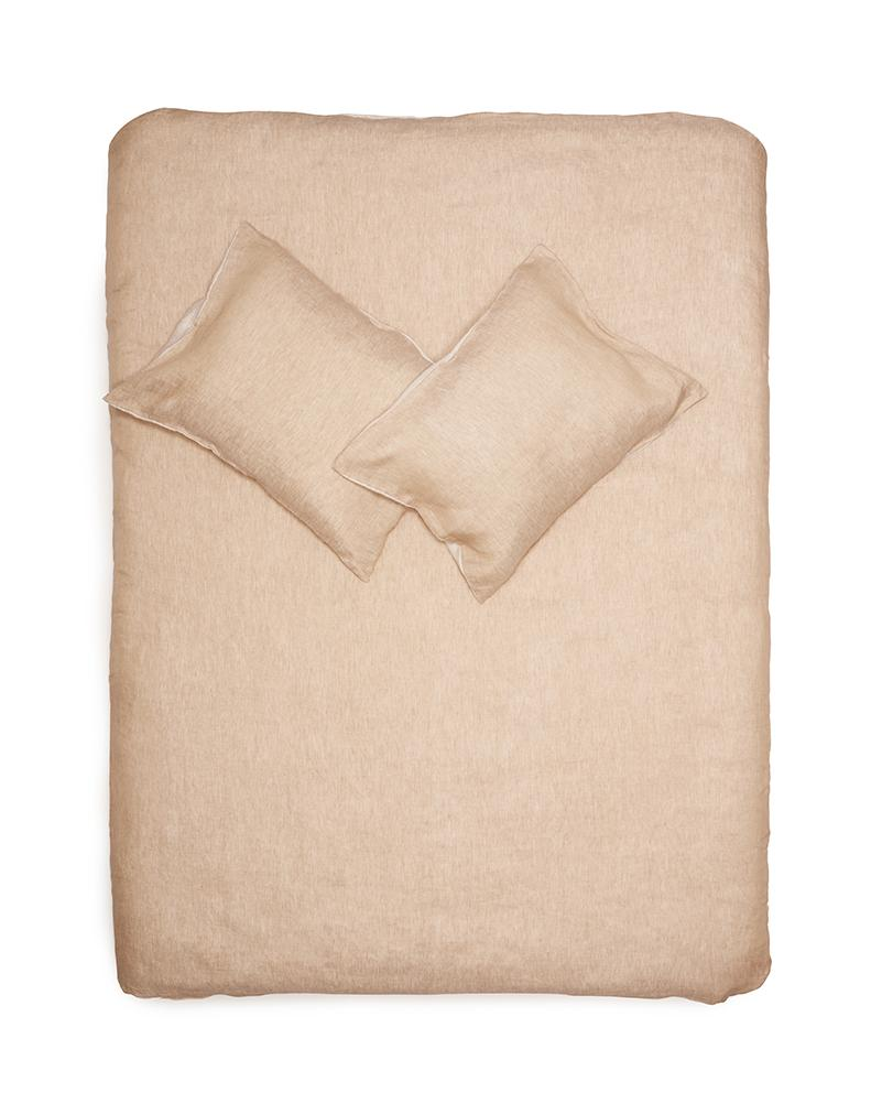 Natural Linen Bedding - Two Tone Stonewashed Linen Bedding Col. Sand. Leinen Bettwäsche