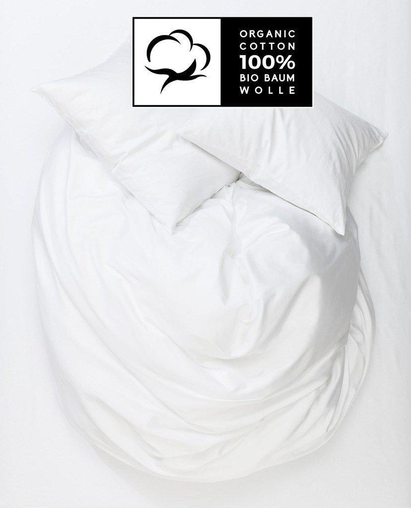 Organic Cotton Duvet Covers - White Organic Cotton Sateen Duvet Covers / Pillows - Naturale
