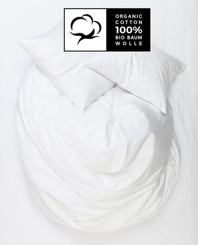 White Organic Cotton Sateen Duvet Covers / Pillows - Naturale