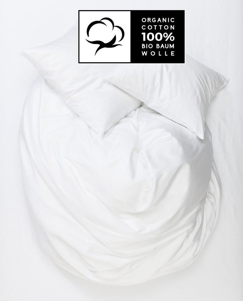 Organic Cotton Duvet Covers - White Organic Percale Cotton Duvet Covers / Pillows - Naturale