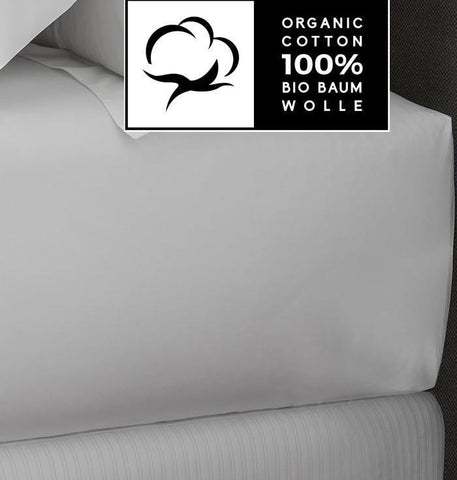 White Organic Cotton Sateen Fitted Sheets - Naturale