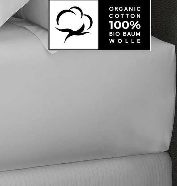 Organic Cotton Fitted Sheets - White Organic Percale Cotton Fitted Sheets - Naturale