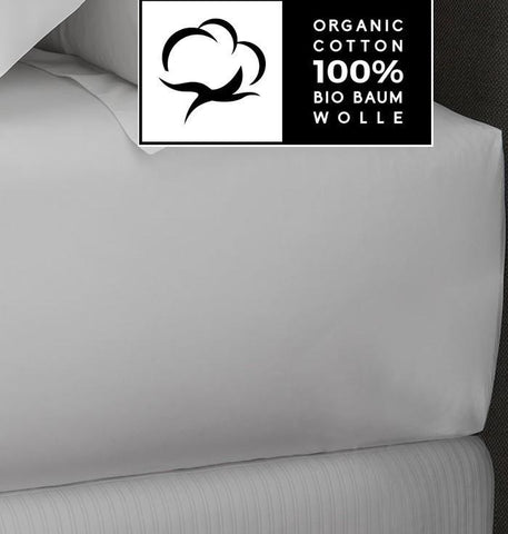 White Organic Percale Cotton Fitted Sheets - Naturale