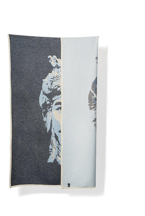 Summer Cotton Throws & Towels - Lorenzo Col. Blue / White Blankets & Throws By Michele Rondelli