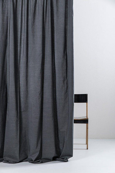 "Vintage Egyptian Cotton Curtains - Anthracite Egyptian Cotton Curtains 300cm /118""Wide ( Col 07 )"
