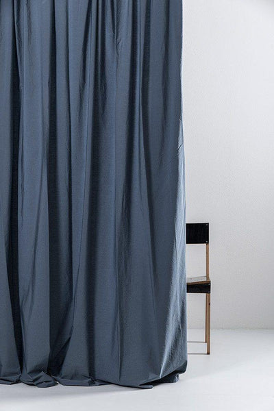 "Vintage Egyptian Cotton Curtains - Blue Egyptian Cotton Curtains 300cm /118""Wide ( Col 13 )"