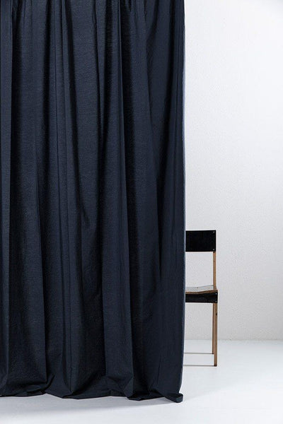"Dark Blue Egyptian Cotton Curtains 300cm /118"" Wide ( col 12  )"