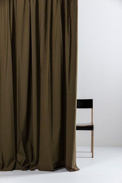 "Olive Green Egyptian Cotton Curtains 300cm /118""Wide ( col 23  )"