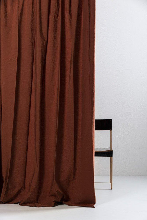 "Vintage Egyptian Cotton Curtains - Rust Brown Egyptian Cotton Curtains 300cm /118""Wide ( Col 25 )"