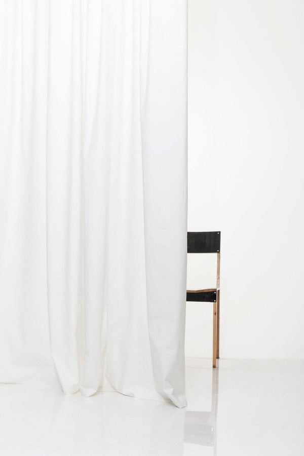 "Vintage Egyptian Cotton Curtains - White Egyptian Cotton Curtains 300cm /118""Wide ( Col 01 )"